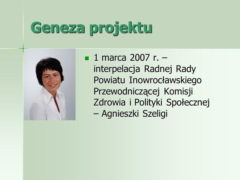Geneza projektu 1 marca 2007 r. – interpelacja Radnej Rady Powiatu Inowrocławskiego Przewodniczącej Komisji Zdrowia i Polityki Społecznej – Agnieszki