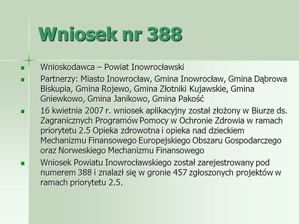 Wniosek nr 388 Wnioskodawca – Powiat Inowrocławski Wnioskodawca – Powiat Inowrocławski Partnerzy: Miasto Inowrocław, Gmina Inowrocław, Gmina Dąbrowa B