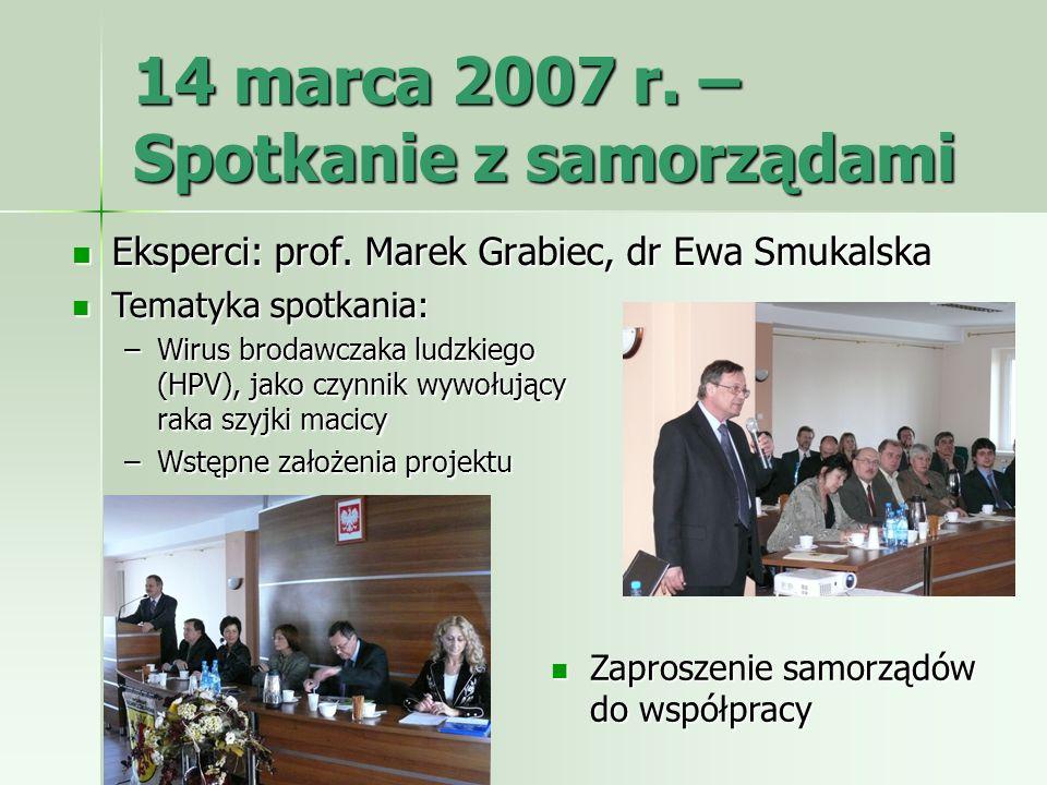 14 marca 2007 r. – Spotkanie z samorządami Eksperci: prof. Marek Grabiec, dr Ewa Smukalska Eksperci: prof. Marek Grabiec, dr Ewa Smukalska Tematyka sp