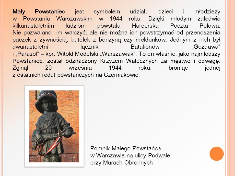 Mały Powstaniec jest symbolem udziału dzieci i młodzieży w Powstaniu Warszawskim w 1944 roku. Dzięki młodym zaledwie kilkunastoletnim ludziom powstała