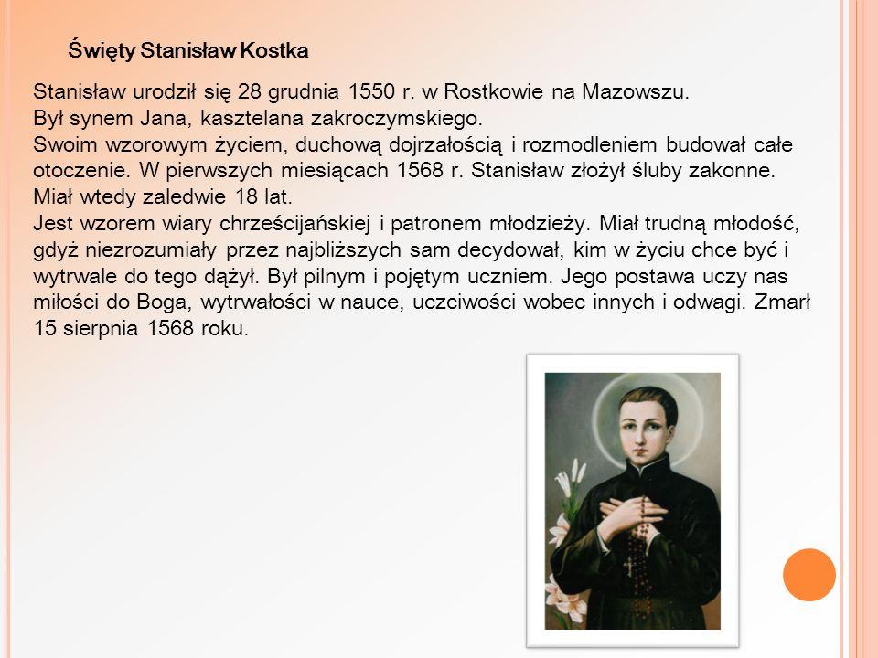 Stanisław urodził się 28 grudnia 1550 r. w Rostkowie na Mazowszu. Był synem Jana, kasztelana zakroczymskiego. Swoim wzorowym życiem, duchową dojrzałoś