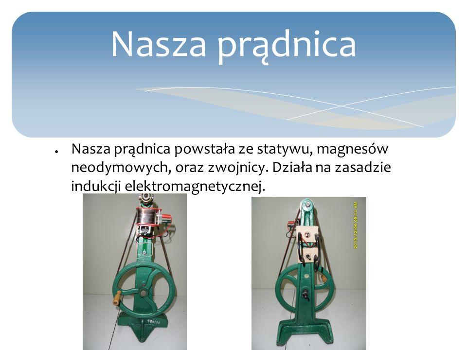 Nasza prądnica Nasza prądnica powstała ze statywu, magnesów neodymowych, oraz zwojnicy. Działa na zasadzie indukcji elektromagnetycznej.