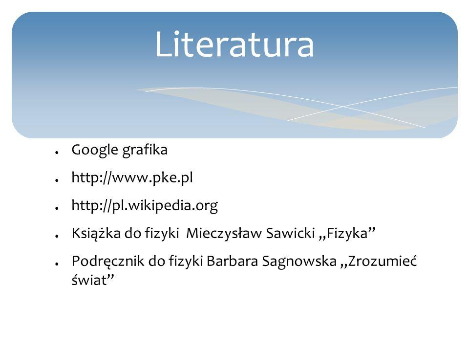 Literatura Google grafika http://www.pke.pl http://pl.wikipedia.org Książka do fizyki Mieczysław Sawicki,,Fizyka Podręcznik do fizyki Barbara Sagnowsk