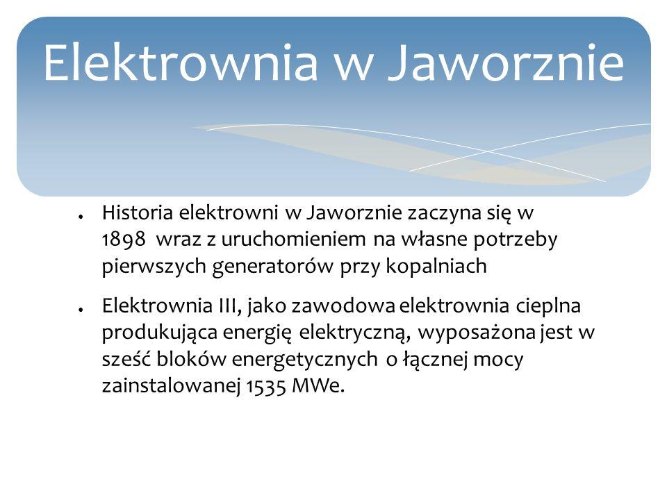 Elektrownia w Jaworznie Historia elektrowni w Jaworznie zaczyna się w 1898 wraz z uruchomieniem na własne potrzeby pierwszych generatorów przy kopalni
