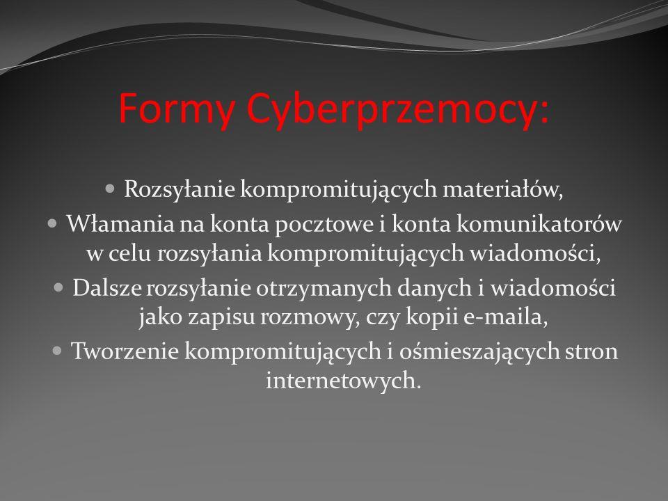 Formy Cyberprzemocy: Rozsyłanie kompromitujących materiałów, Włamania na konta pocztowe i konta komunikatorów w celu rozsyłania kompromitujących wiado