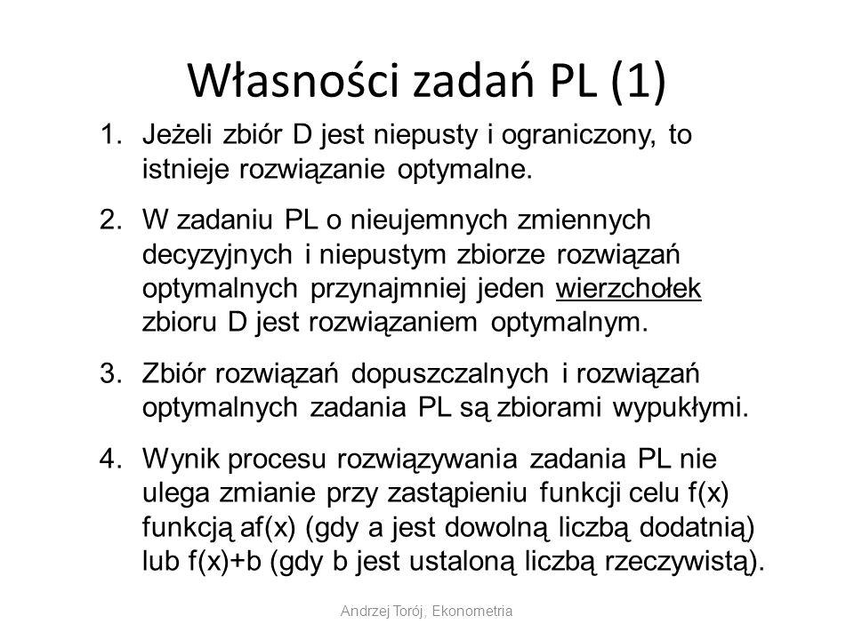 Własności zadań PL (1) Andrzej Torój, Ekonometria 1.Jeżeli zbiór D jest niepusty i ograniczony, to istnieje rozwiązanie optymalne. 2.W zadaniu PL o ni