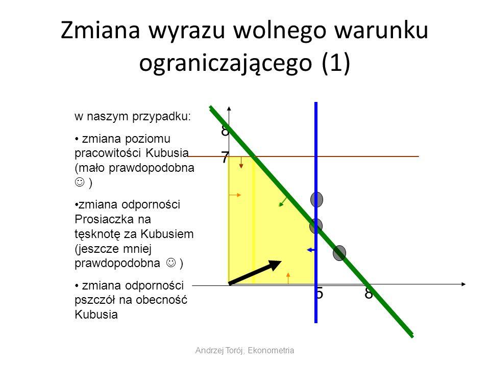 Zmiana wyrazu wolnego warunku ograniczającego (1) Andrzej Torój, Ekonometria 8 8 7 5 w naszym przypadku: zmiana poziomu pracowitości Kubusia (mało prawdopodobna ) zmiana odporności Prosiaczka na tęsknotę za Kubusiem (jeszcze mniej prawdopodobna ) zmiana odporności pszczół na obecność Kubusia