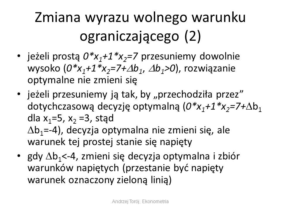 Zmiana wyrazu wolnego warunku ograniczającego (2) jeżeli prostą 0*x 1 +1*x 2 =7 przesuniemy dowolnie wysoko (0*x 1 +1*x 2 =7+ b 1, b 1 >0), rozwiązani