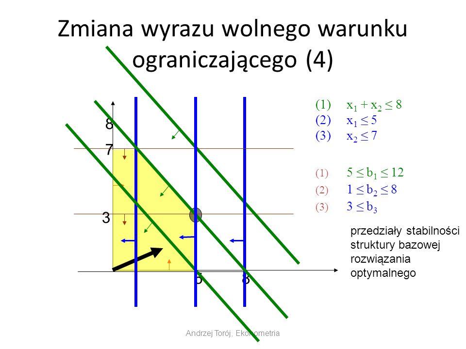 Zmiana wyrazu wolnego warunku ograniczającego (4) (1)x 1 + x 2 8 (2)x 1 5 (3)x 2 7 Andrzej Torój, Ekonometria 8 8 7 5 (1) 5 b 1 12 (2) 1 b 2 8 (3) 3 b 3 3 przedziały stabilności struktury bazowej rozwiązania optymalnego