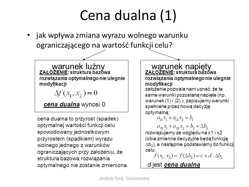 Cena dualna (1) jak wpływa zmiana wyrazu wolnego warunku ograniczającego na wartość funkcji celu? Andrzej Torój, Ekonometria warunek luźnywarunek napi