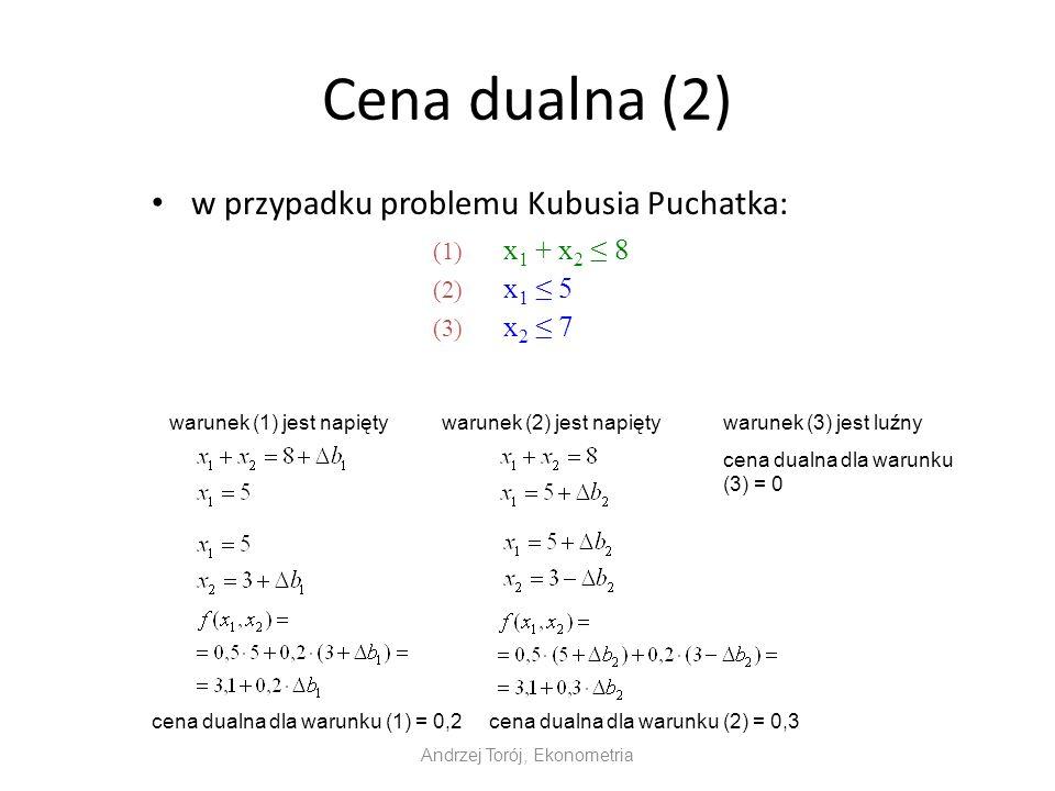 Cena dualna (2) w przypadku problemu Kubusia Puchatka: Andrzej Torój, Ekonometria (1) x 1 + x 2 8 (2) x 1 5 (3) x 2 7 warunek (1) jest napiętywarunek (2) jest napiętywarunek (3) jest luźny cena dualna dla warunku (3) = 0 cena dualna dla warunku (1) = 0,2cena dualna dla warunku (2) = 0,3