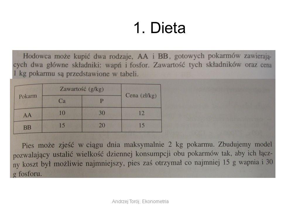 Andrzej Torój, Ekonometria 1. Dieta