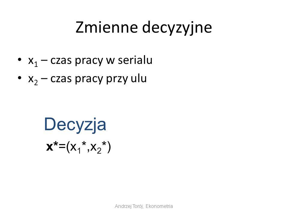 Zmienne decyzyjne x 1 – czas pracy w serialu x 2 – czas pracy przy ulu Andrzej Torój, Ekonometria Decyzja x*=(x 1 *,x 2 *)