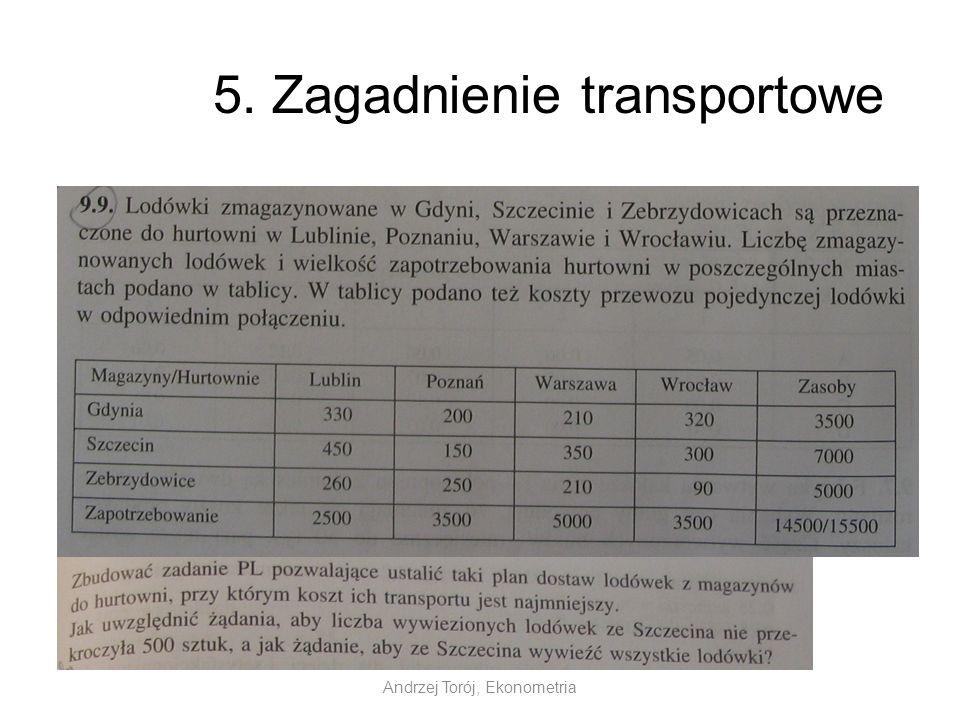 Andrzej Torój, Ekonometria 5. Zagadnienie transportowe