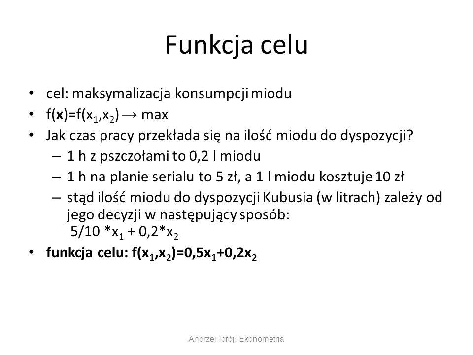 Funkcja celu cel: maksymalizacja konsumpcji miodu f(x)=f(x 1,x 2 ) max Jak czas pracy przekłada się na ilość miodu do dyspozycji? – 1 h z pszczołami t