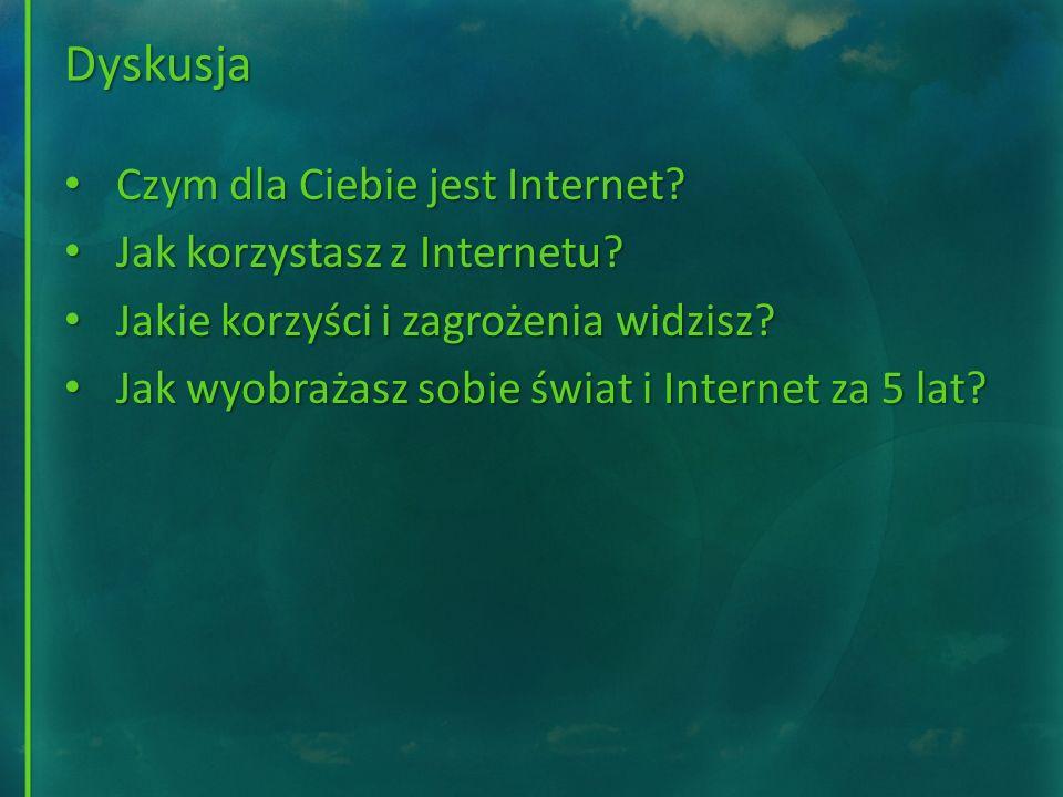 Dyskusja Czym dla Ciebie jest Internet? Czym dla Ciebie jest Internet? Jak korzystasz z Internetu? Jak korzystasz z Internetu? Jakie korzyści i zagroż