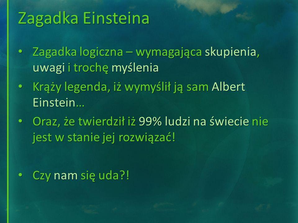 Zagadka Einsteina Zagadka logiczna – wymagająca skupienia, uwagi i trochę myślenia Zagadka logiczna – wymagająca skupienia, uwagi i trochę myślenia Kr