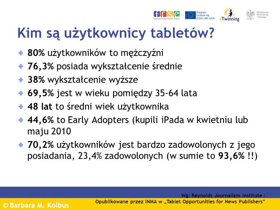 © Barbara M. Kolbus Kim są użytkownicy tabletów? 80% użytkowników to mężczyźni 76,3% posiada wykształcenie średnie 38% wykształcenie wyższe 69,5% jest