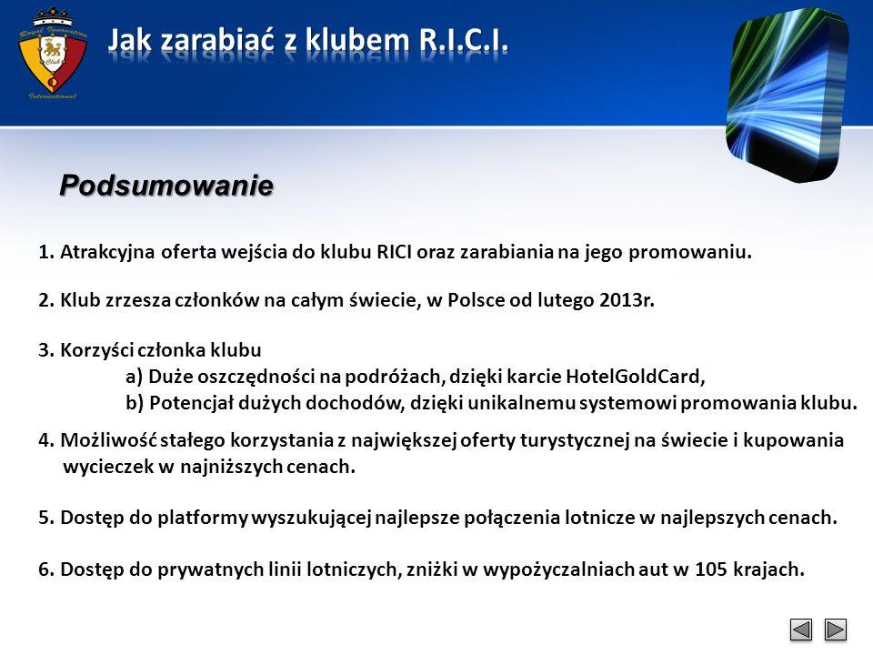 Podsumowanie 1. Atrakcyjna oferta wejścia do klubu RICI oraz zarabiania na jego promowaniu.