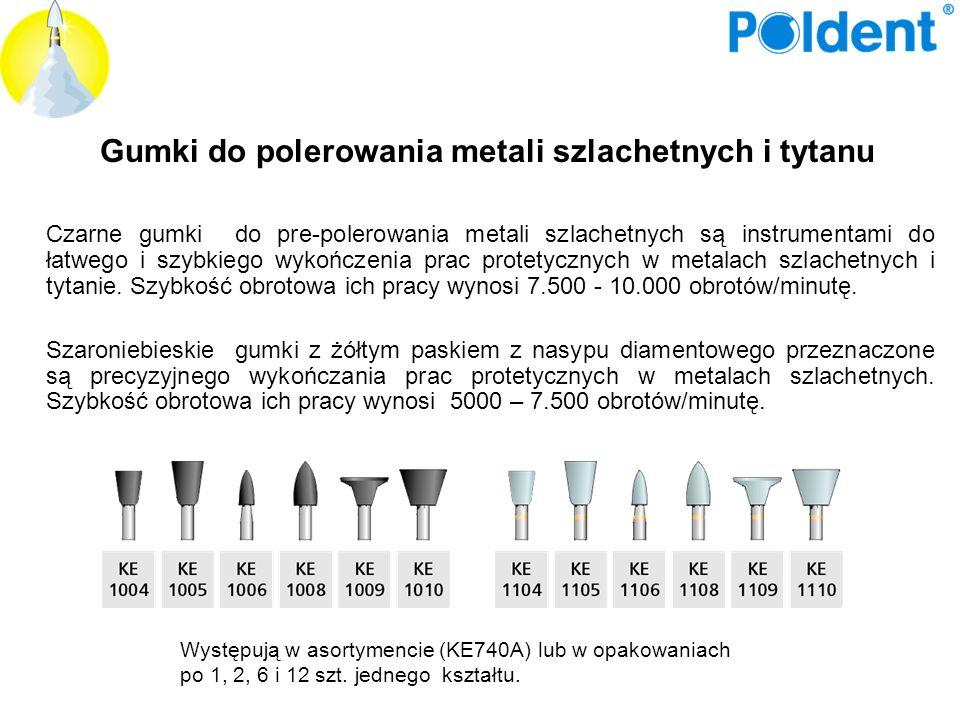 Gumki do polerowania metali szlachetnych i tytanu Czarne gumki do pre-polerowania metali szlachetnych są instrumentami do łatwego i szybkiego wykończe
