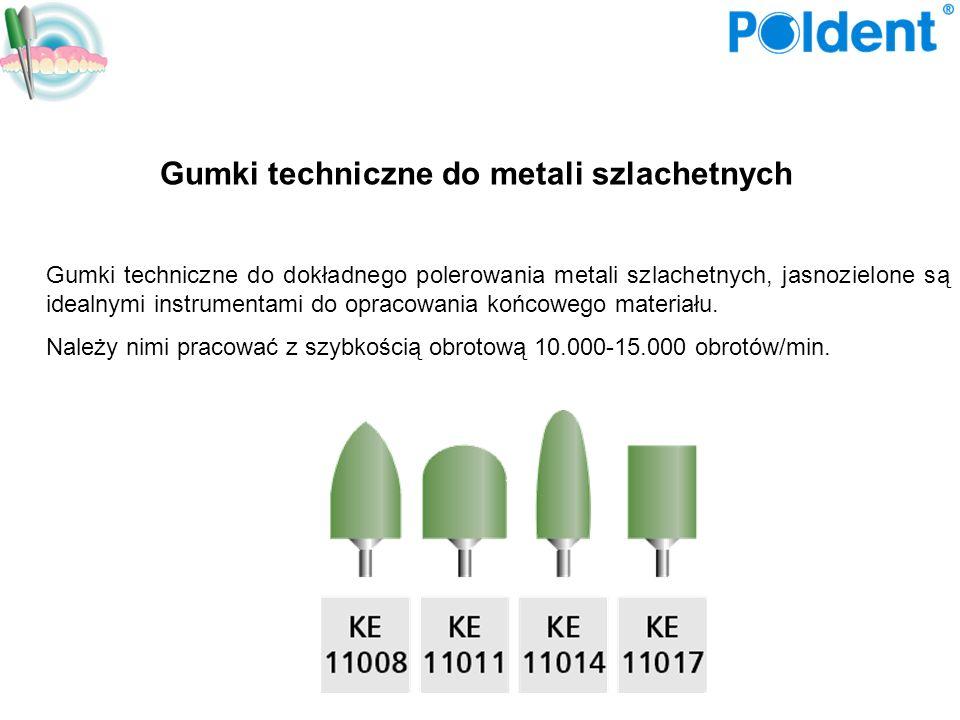 Gumki techniczne do metali szlachetnych Gumki techniczne do dokładnego polerowania metali szlachetnych, jasnozielone są idealnymi instrumentami do opr