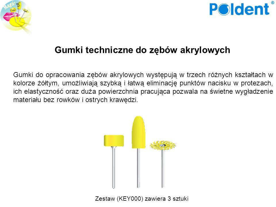 Zestaw (KEY000) zawiera 3 sztuki Gumki techniczne do zębów akrylowych Gumki do opracowania zębów akrylowych występują w trzech różnych kształtach w ko