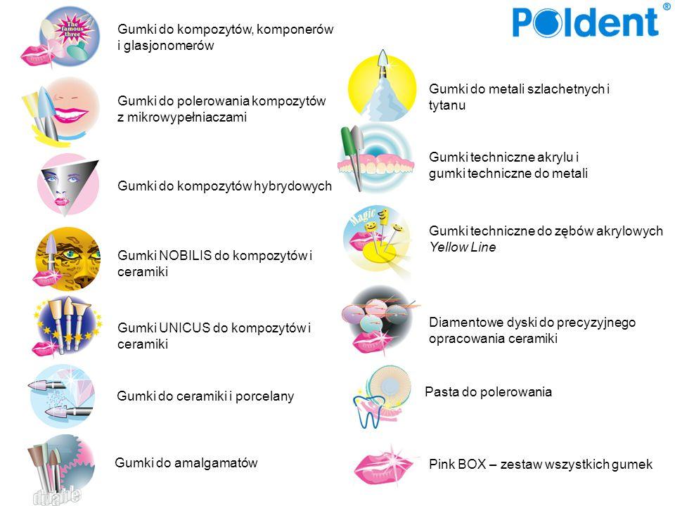 Zestaw (KEY000) zawiera 3 sztuki Gumki techniczne do zębów akrylowych Gumki do opracowania zębów akrylowych występują w trzech różnych kształtach w kolorze żółtym, umożliwiają szybką i łatwą eliminację punktów nacisku w protezach, ich elastyczność oraz duża powierzchnia pracująca pozwala na świetne wygładzenie materiału bez rowków i ostrych krawędzi.
