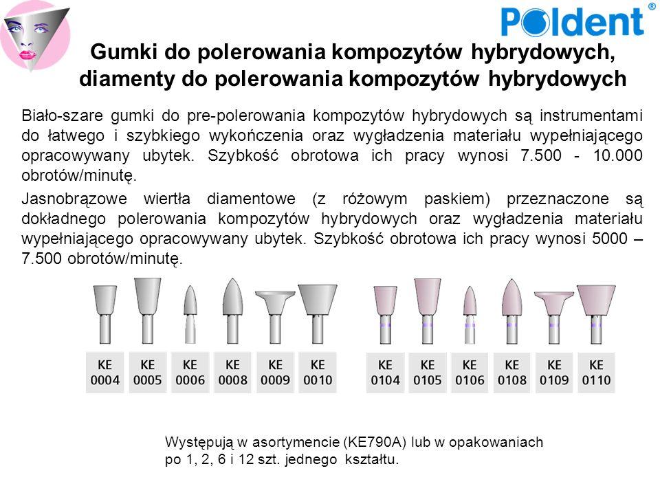 Gumki do polerowania kompozytów hybrydowych, diamenty do polerowania kompozytów hybrydowych Biało-szare gumki do pre-polerowania kompozytów hybrydowyc