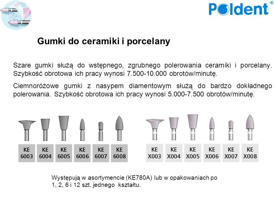 Gumki do ceramiki i porcelany Szare gumki służą do wstępnego, zgrubnego polerowania ceramiki i porcelany. Szybkość obrotowa ich pracy wynosi 7.500-10.
