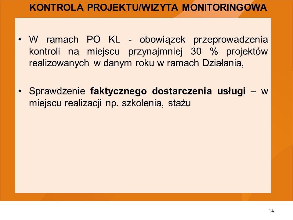 14 W ramach PO KL - obowiązek przeprowadzenia kontroli na miejscu przynajmniej 30 % projektów realizowanych w danym roku w ramach Działania, Sprawdzen