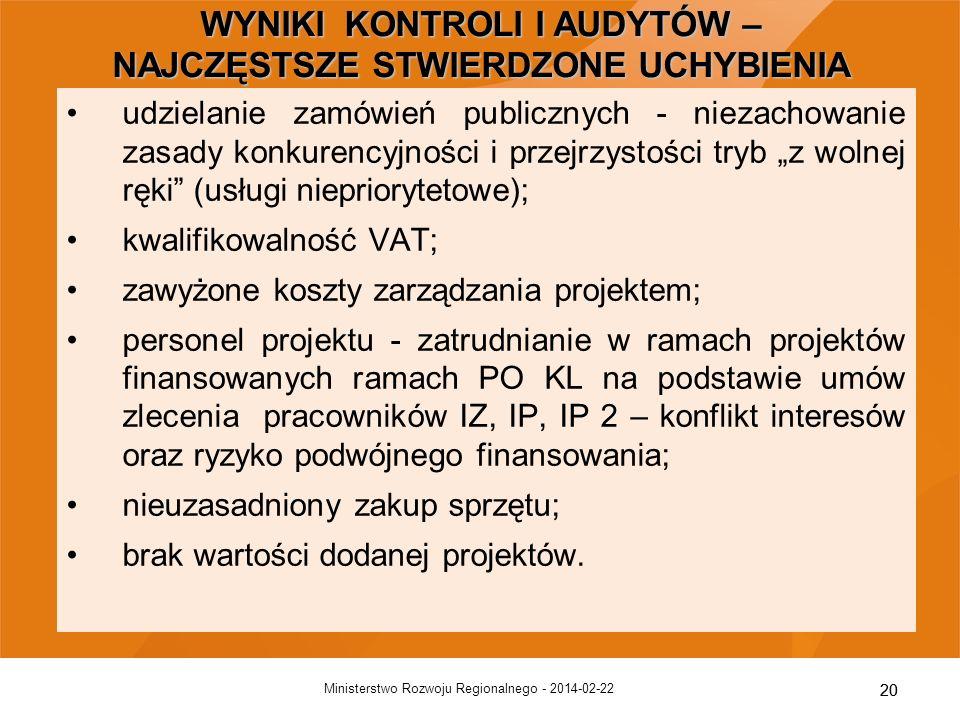20 2014-02-22Ministerstwo Rozwoju Regionalnego - 20 udzielanie zamówień publicznych - niezachowanie zasady konkurencyjności i przejrzystości tryb z wo
