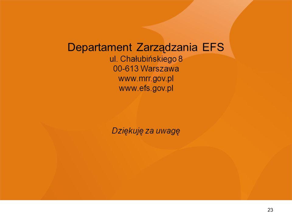 23 Departament Zarządzania EFS ul. Chałubińskiego 8 00-613 Warszawa www.mrr.gov.pl www.efs.gov.pl Dziękuję za uwagę