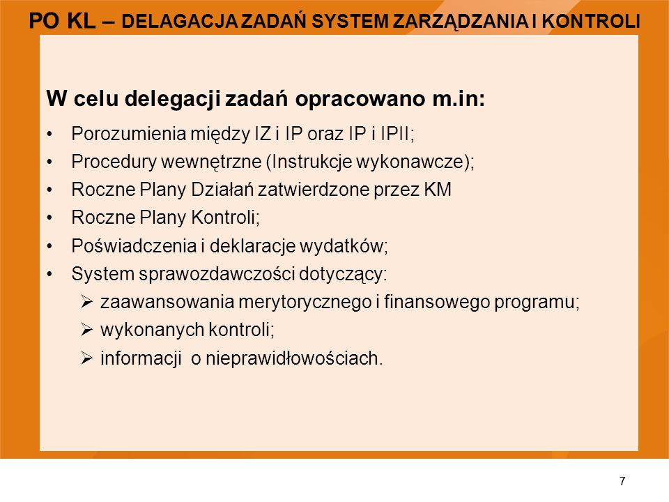 7 W celu delegacji zadań opracowano m.in: Porozumienia między IZ i IP oraz IP i IPII; Procedury wewnętrzne (Instrukcje wykonawcze); Roczne Plany Dział
