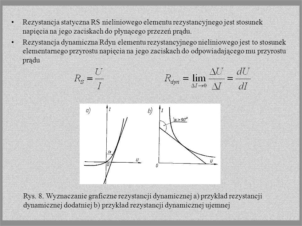 Rezystancja statyczna RS nieliniowego elementu rezystancyjnego jest stosunek napięcia na jego zaciskach do płynącego przezeń prądu.