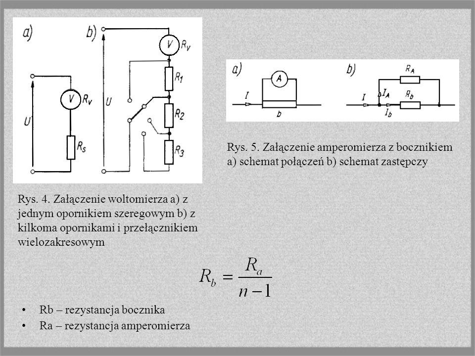 Rb – rezystancja bocznika Ra – rezystancja amperomierza Rys.