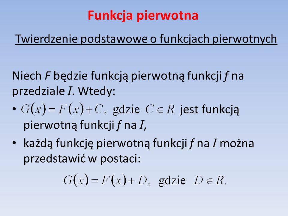 Funkcja pierwotna Warunek wystarczający istnienia funkcji pierwotnej Jeżeli funkcja jest ciągła na przedziale, to ma funkcję pierwotną na tym przedziale.