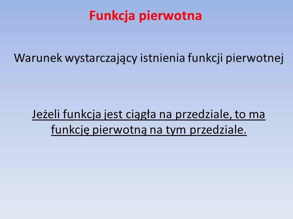 Funkcja pierwotna Funkcja pierwotna funkcji elementarnej nie musi być funkcją elementarną.