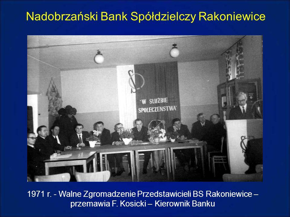 Nadobrzański Bank Spółdzielczy Rakoniewice 1971 r. - Walne Zgromadzenie Przedstawicieli BS Rakoniewice – przemawia F. Kosicki – Kierownik Banku