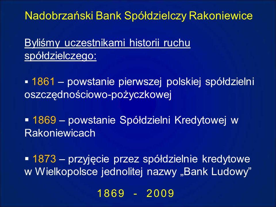 Nadobrzański Bank Spółdzielczy Rakoniewice 1869 - 2009 Byliśmy uczestnikami historii ruchu spółdzielczego: 1861 – powstanie pierwszej polskiej spółdzi