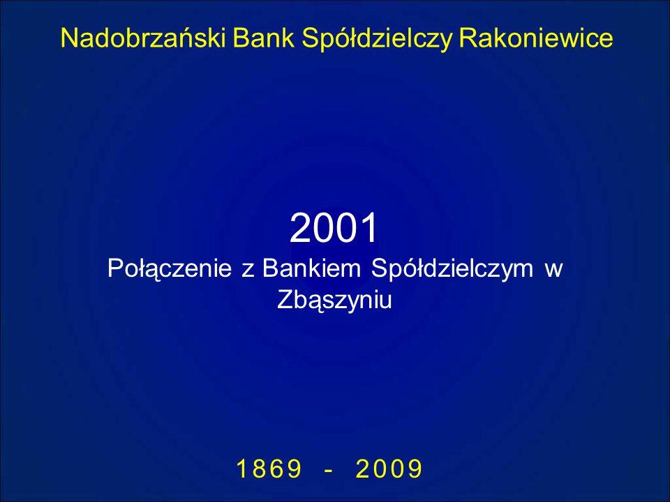Nadobrzański Bank Spółdzielczy Rakoniewice 1869 - 2009 2001 Połączenie z Bankiem Spółdzielczym w Zbąszyniu