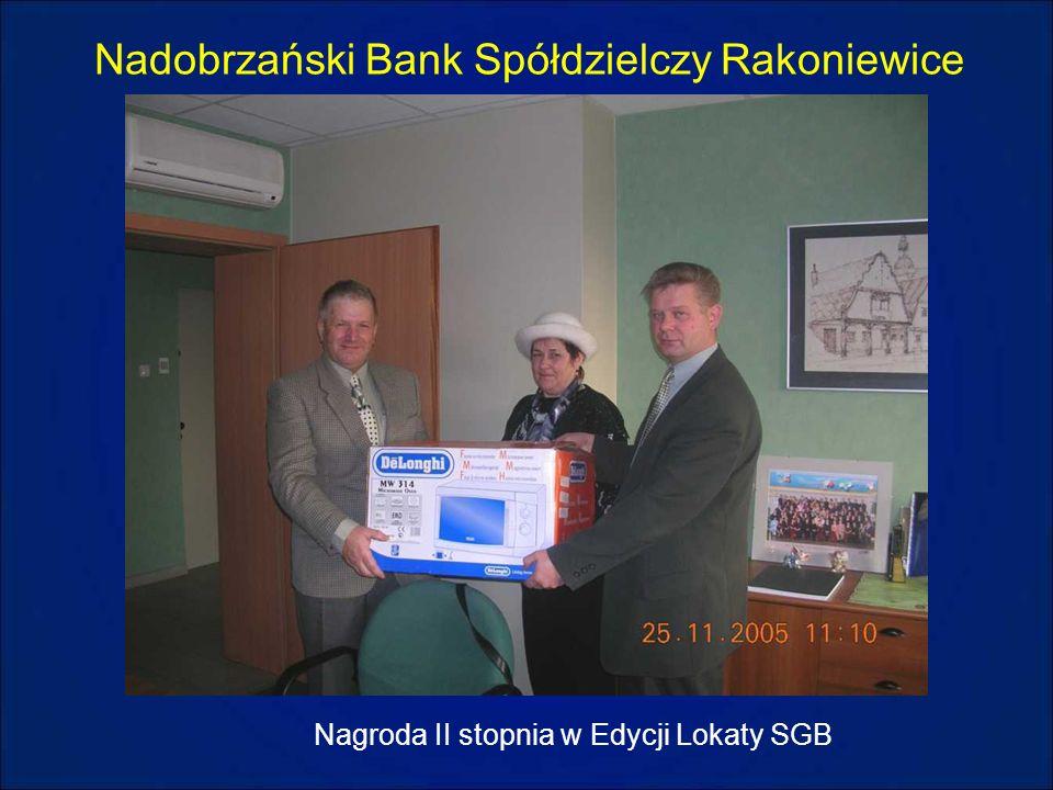 Nadobrzański Bank Spółdzielczy Rakoniewice Nagroda II stopnia w Edycji Lokaty SGB
