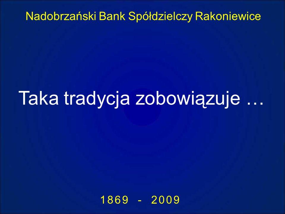 Nadobrzański Bank Spółdzielczy Rakoniewice 1869 - 2009 Taka tradycja zobowiązuje …