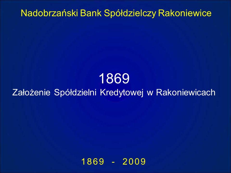 Nadobrzański Bank Spółdzielczy Rakoniewice 1869 - 2009 1869 Założenie Spółdzielni Kredytowej w Rakoniewicach