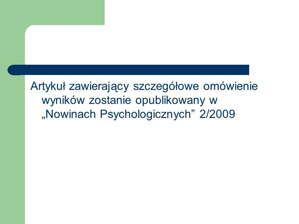 Artykuł zawierający szczegółowe omówienie wyników zostanie opublikowany w Nowinach Psychologicznych 2/2009