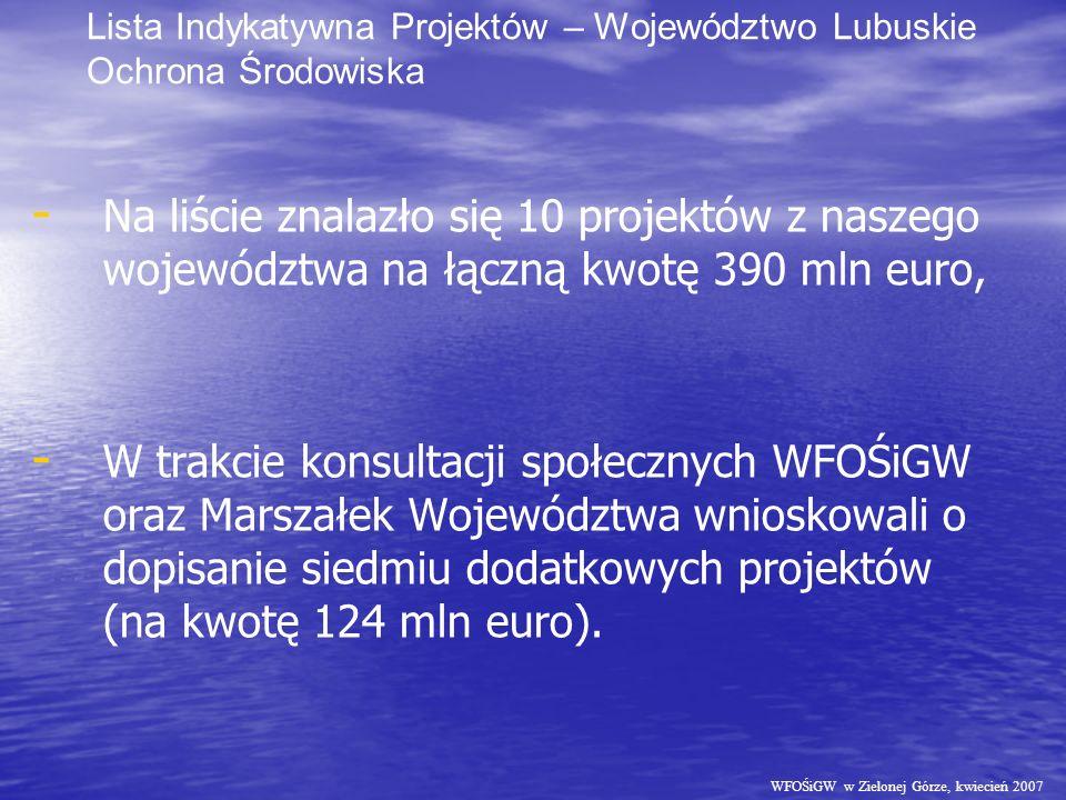WFOŚiGW w Zielonej Górze, kwiecień 2007 Lista Indykatywna Projektów – Województwo Lubuskie Ochrona Środowiska - - Na liście znalazło się 10 projektów z naszego województwa na łączną kwotę 390 mln euro, - - W trakcie konsultacji społecznych WFOŚiGW oraz Marszałek Województwa wnioskowali o dopisanie siedmiu dodatkowych projektów (na kwotę 124 mln euro).