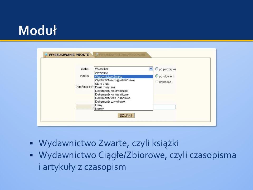 Wydawnictwo Zwarte, czyli książki Wydawnictwo Ciągłe/Zbiorowe, czyli czasopisma i artykuły z czasopism