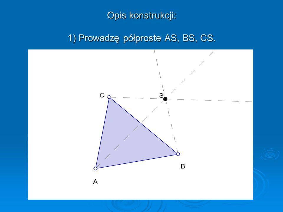 Dany jest trójkąt ABC i punkt S. Znajdź obraz tego trójkąta w symetrii względem punktu S.