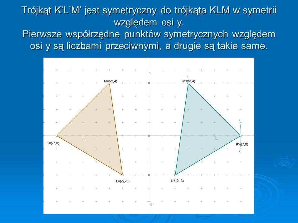 Trójkąt DEF jest symetryczny do trójkąta DEF względem osi x. Pierwsze współrzędne punktów symetrycznych względem osi x są takie same, a drugie są licz