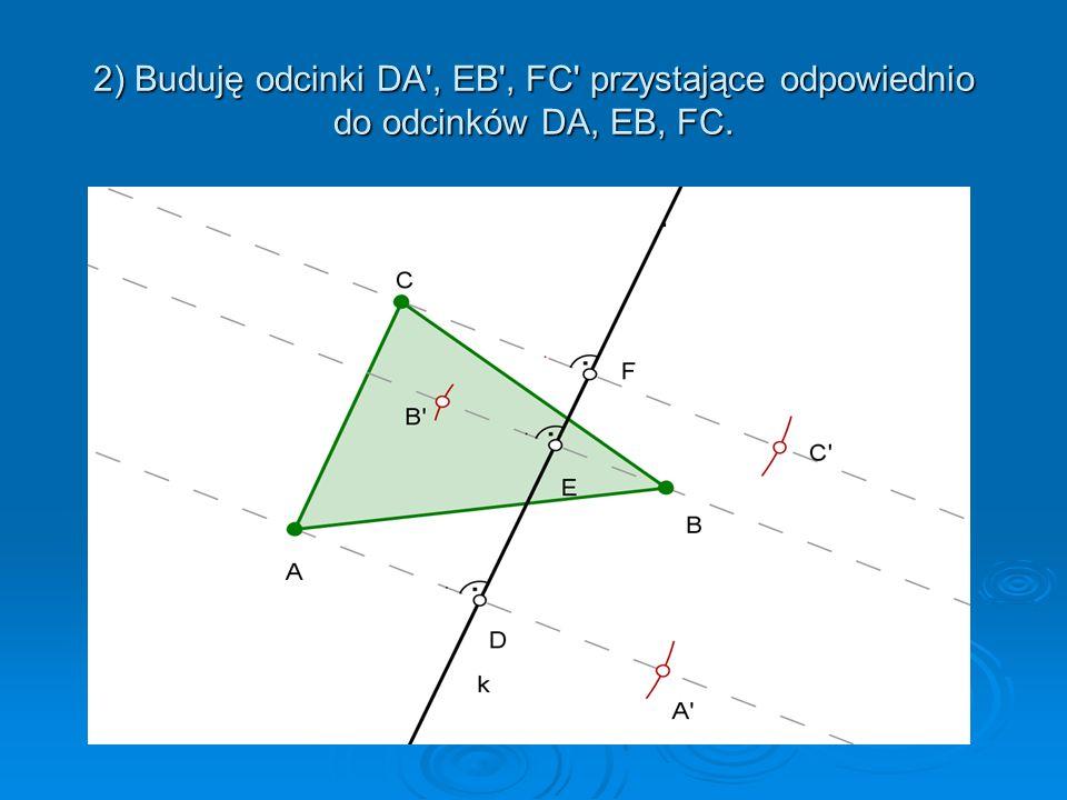 Opis konstrukcji: 1) Prowadzę proste prostopadłe do prostej k i przechodzące przez punkty A,B,C. Proste te przecinają prostą k odpowiednio w punktach