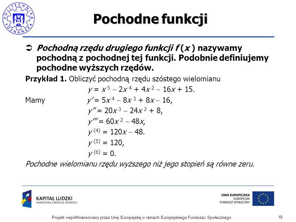 Pochodne funkcji Pochodną rzędu drugiego funkcji f (x ) nazywamy pochodną z pochodnej tej funkcji.